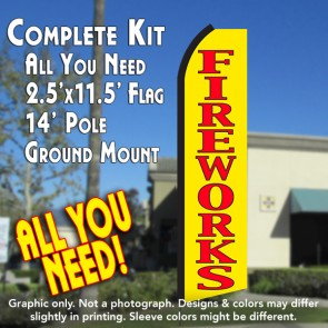 FIREWORKS (Yellow/Red) Flutter Feather Banner Flag Kit (Flag, Pole, & Ground Mt)