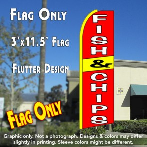 FISH & CHIPS (Red/Yellow) Flutter Feather Banner Flag (11.5 x 3 Feet)