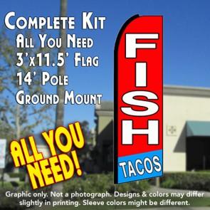 fish tacos red flutter feather banner flag kit