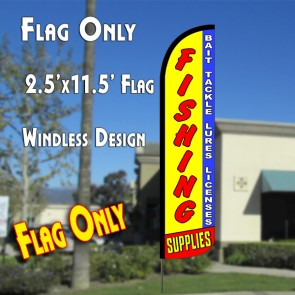 fishing supplies, bait tackle lures license windless feather banner flag