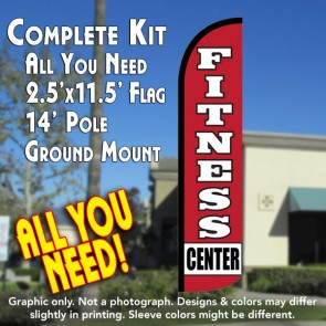 FITNESS CENTER Windless Feather Banner Flag Kit (Flag, Pole, & Ground Mt)