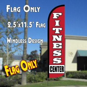 FITNESS CENTER Windless Polyknit Feather Flag (2.5 x 11.5 feet)