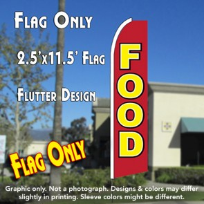 FOOD (Red) Flutter Feather Banner Flag (11.5 x 2.5 Feet)