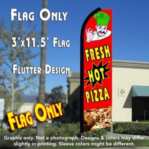 FRESH HOT PIZZA (Red) Flutter Feather Banner Flag (11.5 x 3 Feet)