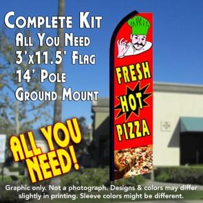 FRESH HOT PIZZA (Red) Flutter Feather Banner Flag Kit (Flag, Pole, & Ground Mt)
