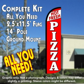 FRESH HOT PIZZA (White/Red) Windless Feather Banner Flag Kit (Flag, Pole, & Ground Mt)