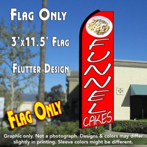 FUNNEL CAKES (Red) Flutter Feather Banner Flag (11.5 x 3 Feet)