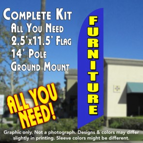 FURNITURE (blue/Yellow)windless Banner Flag Kit (Flag, Pole, & Ground Mt)