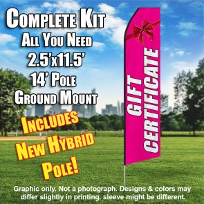 Gift Certificate (Pink/White) Econo Feather Banner Flag Kit (Flag, Pole, & Ground Mt)