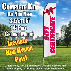 Gift Certificate (White/Pink) Econo Feather Banner Flag Kit (Flag, Pole, & Ground Mt)