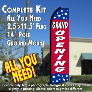 GRAND OPENING (Blue/Red/Stars) Flutter Feather Banner Flag Kit (Flag, Pole, & Ground Mt)