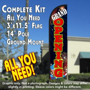 Grand Opening (Fireworks) Windless Feather Banner Flag Kit (Flag, Pole, & Ground Mt)
