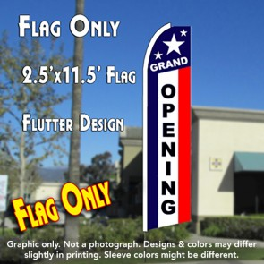 GRAND OPENING (Patriotic) Flutter Polyknit Feather Flag (11.5 x 2.5 feet)