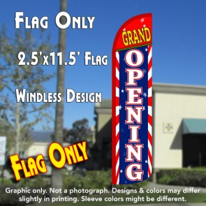 GRAND OPENING (Sunburst) Windless Polyknit Feather Flag (2.5 x 11.5 feet)