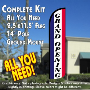 GRAND OPENING Windless Feather Banner Flag Kit (Flag, Pole, & Ground Mt)