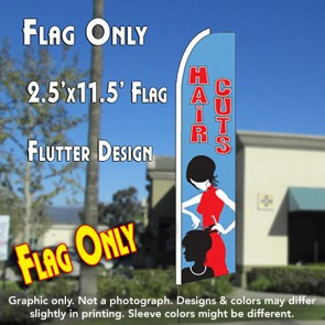 HAIRCUTS (Blue) Flutter Feather Banner Flag