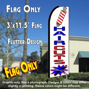 HAIRCUTS (White) Flutter Feather Banner Flag