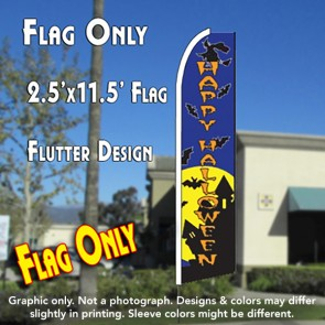 HAPPY HALLOWEEN (Blue) Flutter Feather Banner Flag (11.5 x 2.5 Feet)