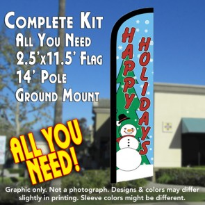 HAPPY HOLIDAYS (Snowman) Windless Feather Banner Flag Kit (Flag, Pole, & Ground Mt)
