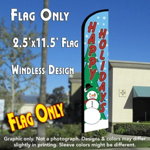 HAPPY HOLIDAYS (Snowman) Windless Feather Banner Flag (2.5 x 11.5 Feet)