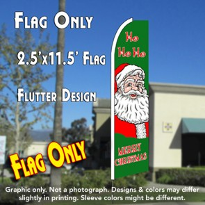 HO HO HO (Merry Christmas) Flutter Feather Banner Flag (11.5 x 2.5 Feet)