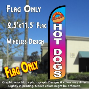 hot dogs multicolor windless polyknit feather flags