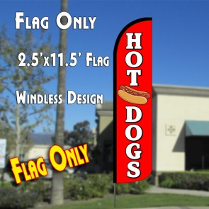 HOT DOGS (Red/White) Windless Polyknit Feather Flag (2.5 x 11.5 feet)