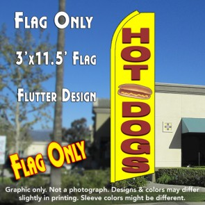 HOT DOGS (Yellow) Flutter Feather Banner Flag (11.5 x 3 Feet)