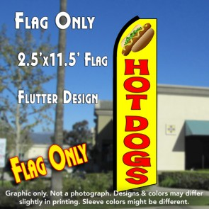 HOT DOGS (Yellow/Red) Flutter Polyknit Feather Flag (11.5 x 2.5 feet)