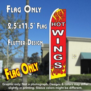 HOT WINGS (Red) Flutter Feather Banner Flag (11.5 x 2.5 Feet)