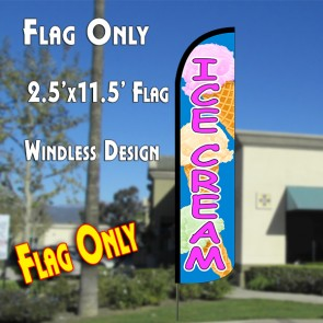 ICE CREAM (Blue/Pink)Windless Polyknit Feather Flag (2.5 x 11.5 feet)