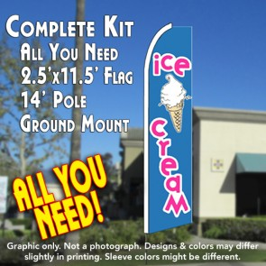 ICE CREAM (Blue/Pink) Flutter Feather Banner Flag Kit (Flag, Pole, & Ground Mt)