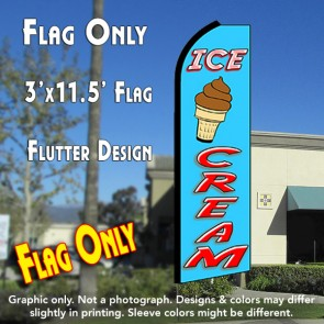 ICE CREAM (Blue/Red) Flutter Feather Banner Flag (11.5 x 3 Feet)