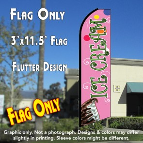 ICE CREAM (Pink) Flutter Feather Banner Flag (11.5 x 3 Feet)