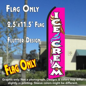ICE CREAM (Pink/White) Flutter Polyknit Feather Flag (11.5 x 2.5 feet)