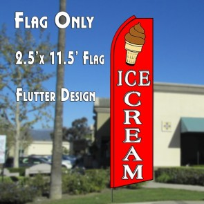 ICE CREAM (RED/WHITE) WINDLESS ADVERTISING FLAG
