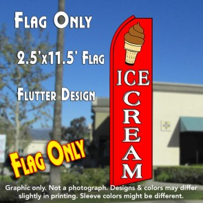 ICE CREAM (Red/White) Flutter Polyknit Feather Flag (11.5 x 2.5 feet)