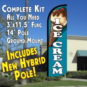 ICE CREAM (TEAL) WINDLESS ADVERTISING FLUTTER BANNER FLAG KIT (FLAG, POLE, & GROUND MT)