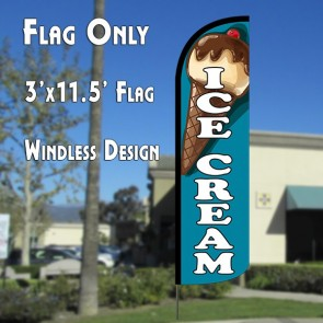 ICE CREAM (TEAL) WINDLESS ADVERTISING FLAG
