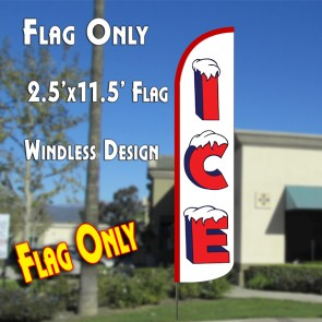 ICE (WHITE/RED) WINDLESS ADVERTISING FLAG