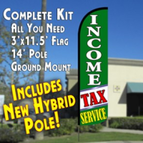 Income Tax Service (Green/White) Windless Feather Banner Flag Kit (Flag, Pole, & Ground Mt)