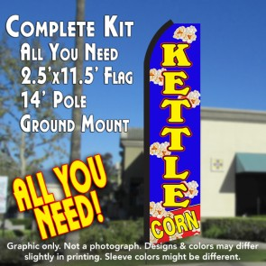 KETTLE CORN (Blue/Yellow) Flutter Feather Banner Flag Kit (Flag, Pole, & Ground Mt)