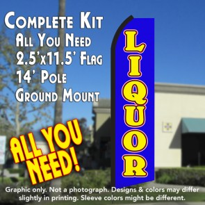 LIQUOR (Blue/Yellow) Flutter Feather Banner Flag Kit (Flag, Pole, & Ground Mt)