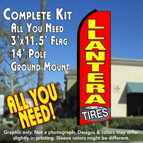 LLANTERA Flutter Feather Banner Flag Kit (Flag, Pole, & Ground Mt)