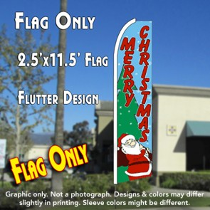 MERRY CHRISTMAS (Santa) Flutter Feather Banner Flag (11.5 x 2.5 Feet)