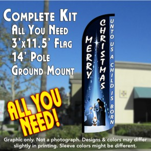MERRY CHRISTMAS (Unto Us...) Windless Feather Banner Flag Kit (Flag, Pole, & Ground Mt)