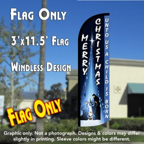 MERRY CHRISTMAS (Unto Us...) Windless Polyknit Feather Flag (3 x 11.5 feet)