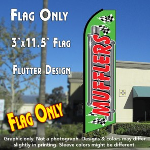 MUFFLERS (Green/Red) Flutter Feather Banner Flag (11.5 x 3 Feet)