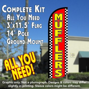 Mufflers (Checkered) Windless Feather Banner Flag Kit (Flag, Pole, & Ground Mt)