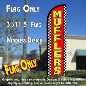 Mufflers (Checkered) Windless Polyknit Feather Flag (3 x 11.5 feet)